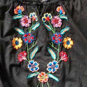 Boston Proper Tops - Boston proper black embroidered peasant top